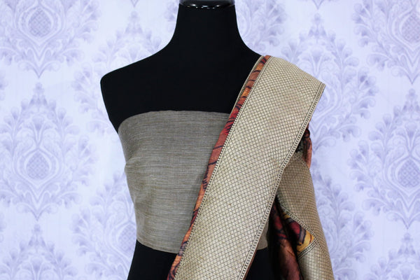 Buy elegant brown floral Kalamkari print tussar saree online in USA. The saree is an alluring choice for a traditional Indian look at special occasions.  Buy more such traditional Indian sarees in USA from Pure Elegance clothing store and stand out with ethnic elegance.-blouse pallu