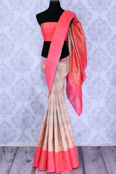 Buy beige matka silk saree online in USA. The saree is an absolute stunner for festivals and parties. Choose your favorite saree from an exclusive collection of Indian designer sarees available at Pure Elegance clothing store in USA.-full view