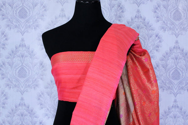 Buy beige matka silk saree online in USA. The saree is an absolute stunner for festivals and parties. Choose your favorite saree from an exclusive collection of Indian designer sarees available at Pure Elegance clothing store in USA.-blouse pallu
