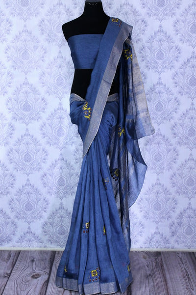 Buy blue printed linen saree online in USA with elephant applique. The elegant saree is a classic drape for an ethnic Indian look at special occasions. Select from an exquisite range of handloom sarees, linen sarees at Pure Elegance Indian Clothing store in USA.-full view