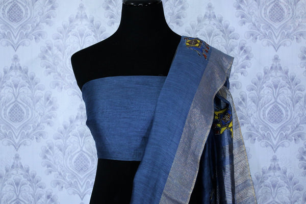 Buy blue printed linen saree online in USA with elephant applique. The elegant saree is a classic drape for an ethnic Indian look at special occasions. Select from an exquisite range of handloom sarees, linen sarees at Pure Elegance Indian Clothing store in USA.-blouse pallu