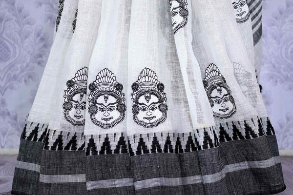 Buy elegant white linen tussar saree with embroidery online in USA. The classic saree is a striking choice for an ethnic Indian look at special occasions. Select from an exquisite range of handwoven saris, designer saris at Pure Elegance Indian Clothing store in USA.-pleats