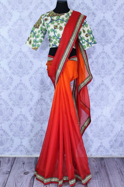 Buy beautiful orange red kota silk saree with embroidery online in USA. Make an elegant fashion statement at parties with this alluring drape. Select from an exquisite range of handwoven sarees, designer saris with blouses at Pure Elegance Indian Clothing store in USA.-full view