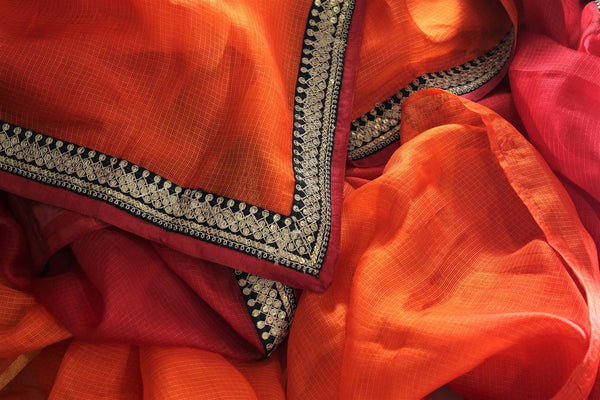 Buy beautiful orange red kota silk saree with embroidery online in USA. Make an elegant fashion statement at parties with this alluring drape. Select from an exquisite range of handwoven sarees, designer saris with blouses at Pure Elegance Indian Clothing store in USA.-details