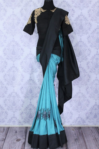 Buy stylish blue ikkat silk saree with resham embroidery online in USA. Make an elegant fashion statement at parties with this alluring drape. Select from an exquisite range of handwoven sarees, designer sarees with blouses at Pure Elegance Indian Clothing store in USA.-full view