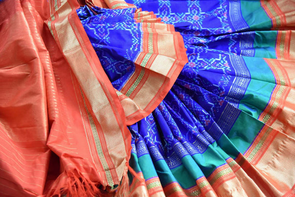 Buy blue kanjivaram ikat silk saree online in USA. Radiate ethnic elegance at special occasions with this absolutely striking ikkat saree with zari border. Add more such traditional Indian Kanchipuram silk saris to your wardrobe, available at Pure Elegance clothing store in USA for women or you can also shop online. -details