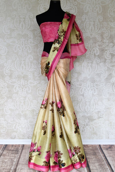 Gorge on the beauty of this designer green mulberry rose printed sari. The feminine yet delicate saree comes with a pretty contrasting pink blouse. Strut in this body-hugging saree at parties, brunch dates and turn heads. Shop designer silk sarees, lehenga cholis, Indian dress online or visit Pure Elegance store, USA.-full view