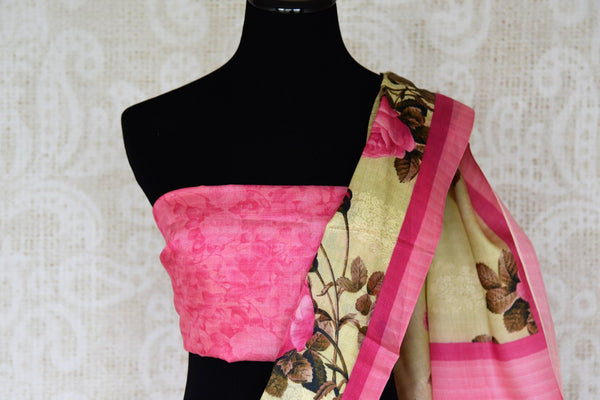 Gorge on the beauty of this designer green mulberry rose printed sari. The feminine yet delicate saree comes with a pretty contrasting pink blouse. Strut in this body-hugging saree at parties, brunch dates and turn heads. Shop designer silk sarees, lehenga cholis, Indian dress online or visit Pure Elegance store, USA.-blouse pallu