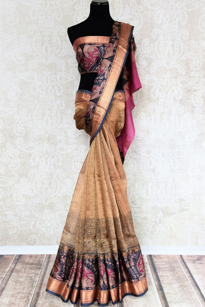 Buy ethnic brown printed kota zari sari online in USA with zari border. The alluring drape is a unique choice for festive and special occasions. For more such traditional Indian sarees in USA, shop from the exquisite collection at Pure Elegance Indian clothing store.-full view