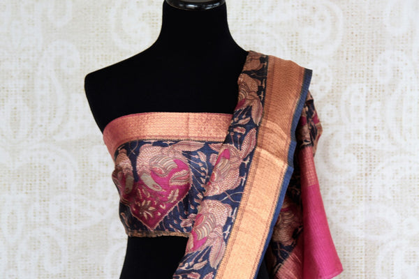 Buy ethnic brown printed kota zari sari online in USA with zari border. The alluring drape is a unique choice for festive and special occasions. For more such traditional Indian sarees in USA, shop from the exquisite collection at Pure Elegance Indian clothing store.-blouse pallu