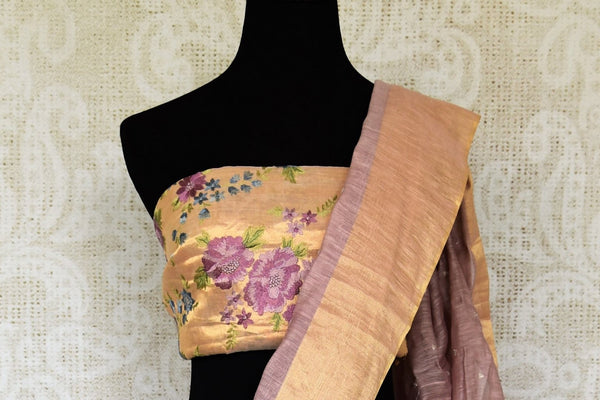 An embellished matka silk wonder, this lavender hued elegant party wear sari is enhanced with the designer embroidered blouse. Shop this gorgeous handwoven Indian designer sarees online or visit Pure Elegance store in USA. - blouse pallu