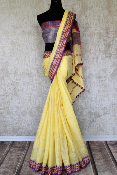 Your quintessential everyday casual dressing made easy in white woven linen saree. This blend of comfort and style meets in this ensemble. Pair a contrasting grey woven blouse with this saree and strike a lasting impression. Shop handloom sarees, banarsi silk sari online or visit Pure Elegance store, USA. -full view