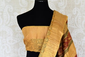 Buy beautiful hand printed tribal art handloom designer silk sarees. These exclusive Tussar silk saris have a matching printed blouse with an embroidered pallu. Shop this classy Indian saree, kalamkari sarees, designer saris online or visit Pure Elegance store in USA. -blouse pallu
