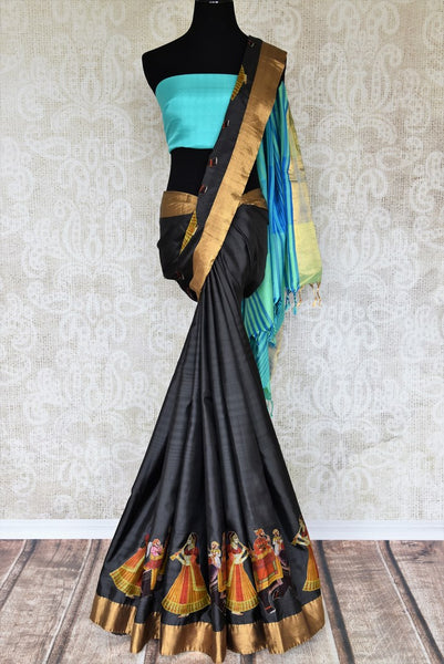Beautiful black kanjivaram silk saree shop online in USA with applique work and golden border. Make your ethnic wardrobe rich with traditional Indian sarees available at Pure Elegance exclusive clothing store in USA or shop online.-full view