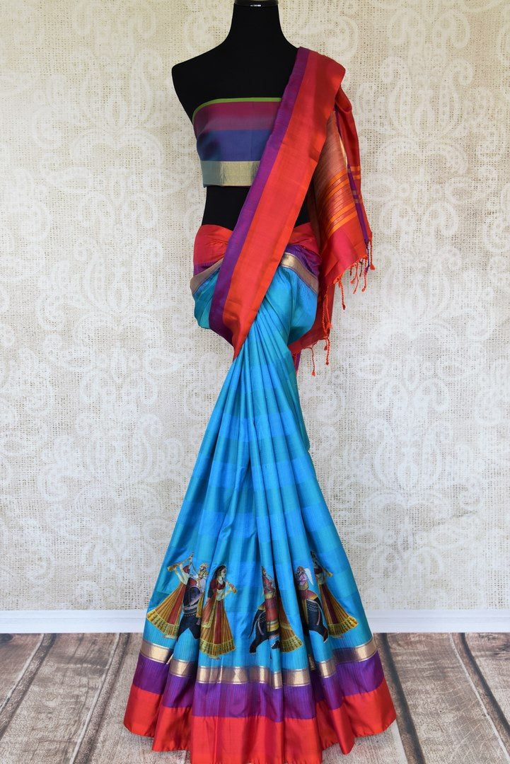 Beautiful blue kanjeevaram silk saree buy online in USA with applique work. Make your ethnic wardrobe rich with traditional Indian Kanchipuram sarees available at Pure Elegance exclusive clothing store in USA or shop online.-full view