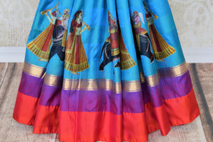 Beautiful blue kanjeevaram silk saree buy online in USA with applique work. Make your ethnic wardrobe rich with traditional Indian Kanchipuram sarees available at Pure Elegance exclusive clothing store in USA or shop online.-pleats