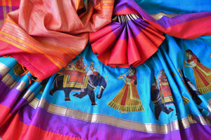 Beautiful blue kanjeevaram silk saree buy online in USA with applique work. Make your ethnic wardrobe rich with traditional Indian Kanchipuram sarees available at Pure Elegance exclusive clothing store in USA or shop online.-details