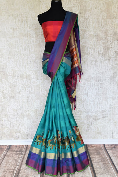 Shop beautiful green kanjeevaram silk saree online in USA with applique work. Make your ethnic wardrobe rich with traditional Indian Kanchipuram sarees available at Pure Elegance exclusive clothing store in USA or shop online.-full view