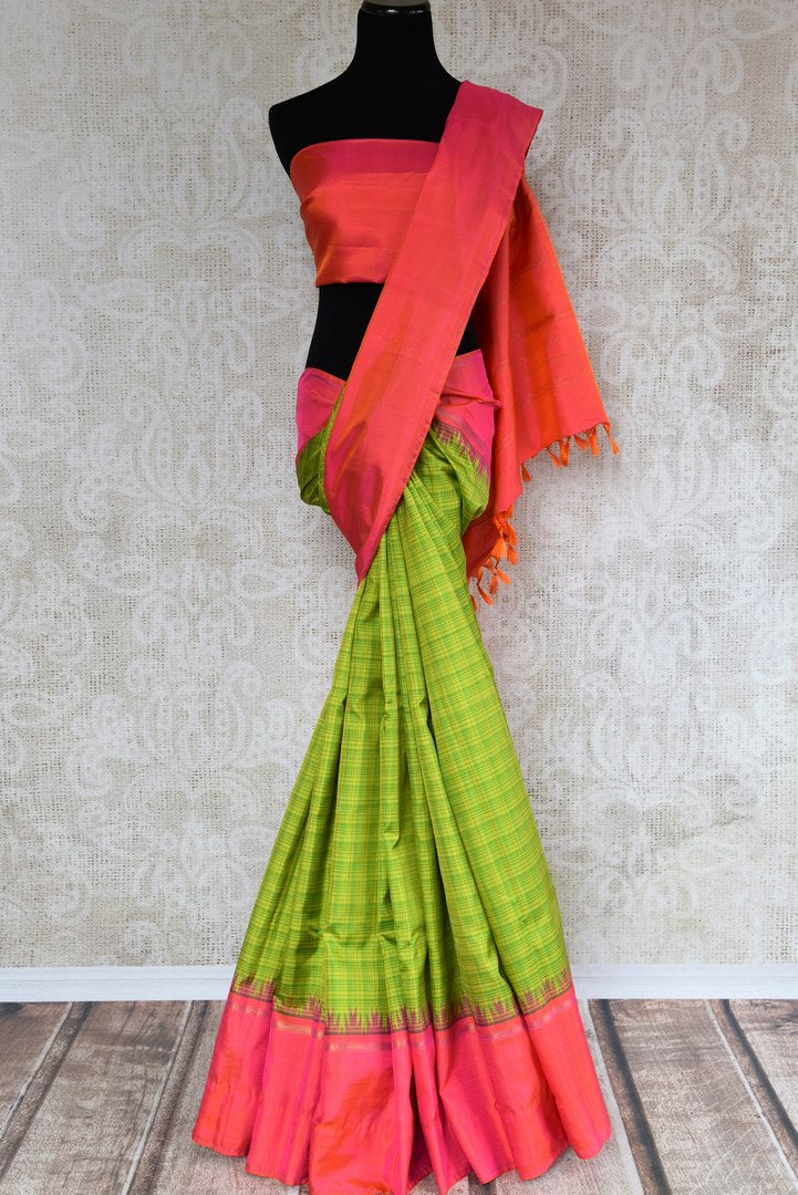 Buy green check Kanjeevaram silk sari online in USA. The beautiful saree is an alluring choice for festivals and special occasions. Choose your favorite saree from an exclusive collection of Indian Kanchipuram sarees available at Pure Elegance clothing store in USA.-full view