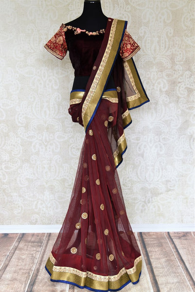 Buy online maroon chanderi net embroidered saree in USA with blouse. Elevate your Indian style with an alluring collection of Indian designer sarees available at Pure Elegance Indian fashion store in USA or shop online.-full view