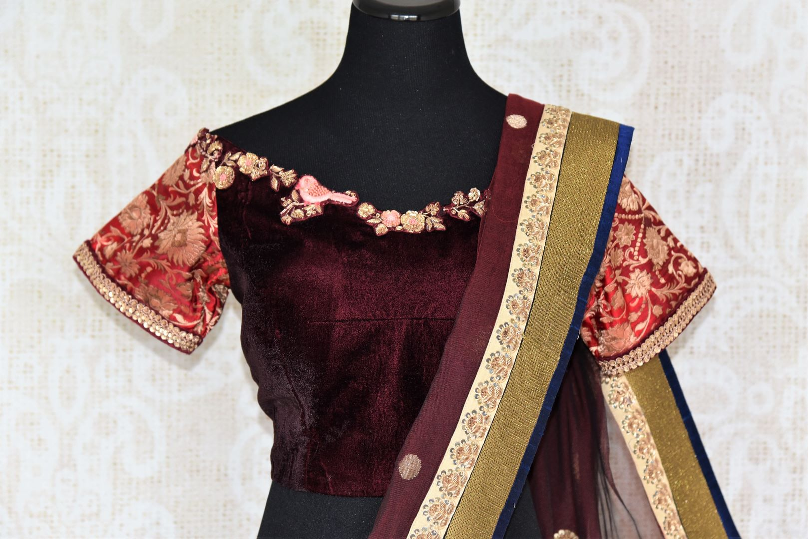 Buy online maroon chanderi net embroidered saree in USA with blouse. Elevate your Indian style with an alluring collection of Indian designer sarees available at Pure Elegance Indian fashion store in USA or shop online.-blouse pallu