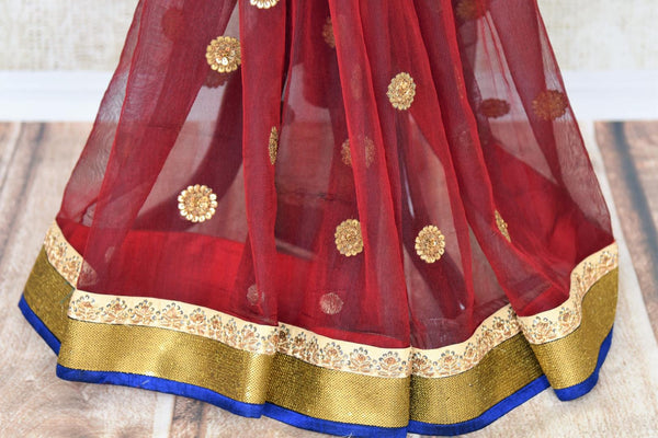 Buy online maroon chanderi net embroidered saree in USA with blouse. Elevate your Indian style with an alluring collection of Indian designer sarees available at Pure Elegance Indian fashion store in USA or shop online.-pleats