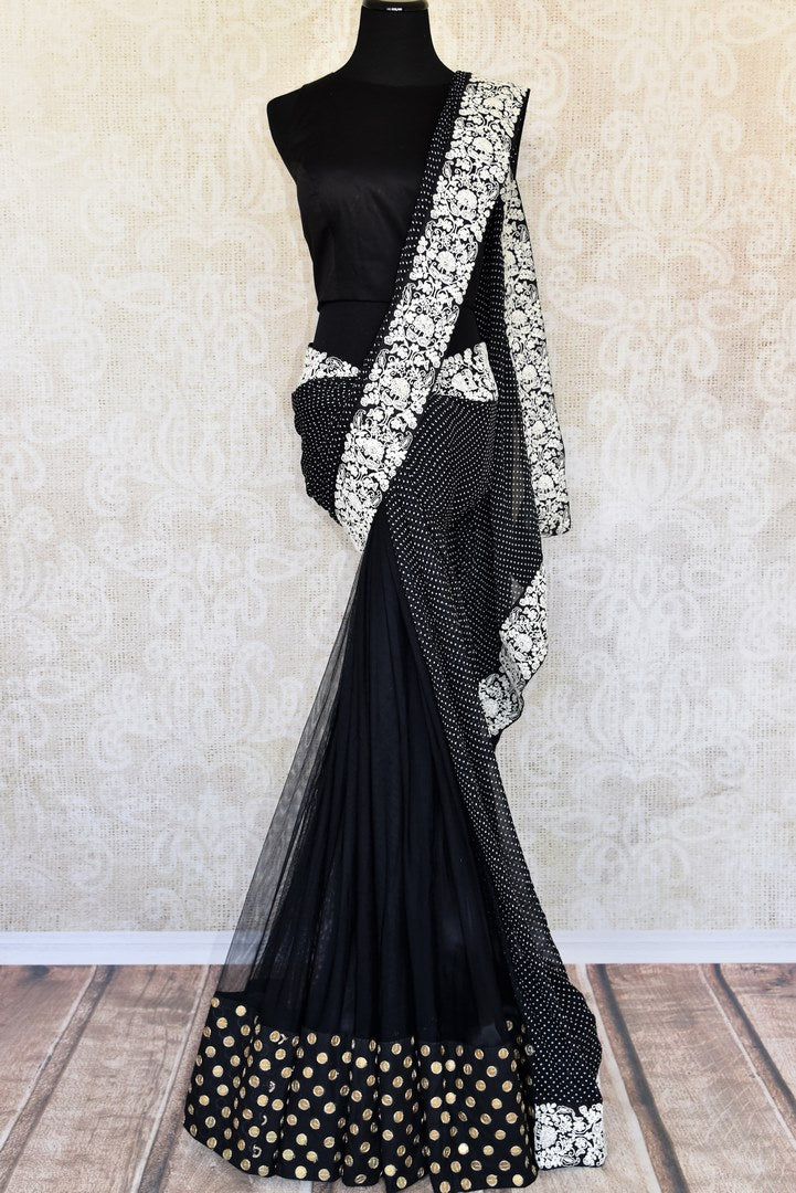 Buy online black net georgette embroidered saree in USA with blouse. Elevate your Indian style with an alluring collection of Indian designer sarees, Bollywood sarees available at Pure Elegance Indian fashion store in USA or shop online.-full view