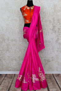 Pink applique work silk saree buy online in USA. The saree comes with a stunning red saree blouse which elevates the style quotient of the sari. If you are looking for Indian designer sarees in USA, then Pure Elegance clothing store is your one stop solution, shop now.-full view