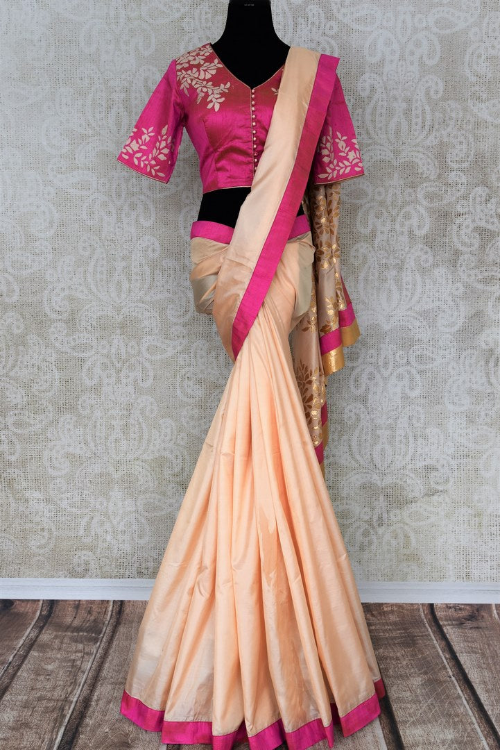 Peach applique work silk sari buy online in USA. The saree comes with a stunning pink sari blouse which elevates the style quotient of the saree. If you are looking for Indian designer saris in USA, then Pure Elegance clothing store is your one-stop solution, shop now.-full view