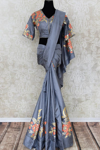 Elegant grey applique work silk saree buy online in USA. The saree comes with a matching designer saree blouse which elevates the style quotient of the saree. If you are looking for Indian designer saris in USA, then Pure Elegance clothing store is your one-stop solution, shop now.-full view