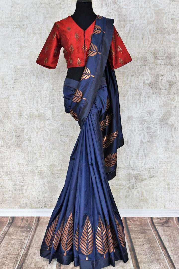 Beautiful blue applique work silk sari buy online in USA. It comes with a contrasting red designer saree blouse. If you are looking for Indian designer silk saris in USA, then Pure Elegance clothing store is your one-stop solution, shop now.-full view