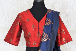 Beautiful blue applique work silk sari buy online in USA. It comes with a contrasting red designer saree blouse. If you are looking for Indian designer silk saris in USA, then Pure Elegance clothing store is your one-stop solution, shop now.-blouse pallu
