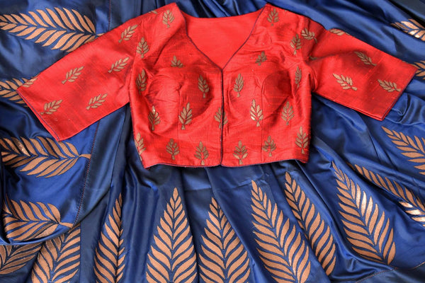 Beautiful blue applique work silk sari buy online in USA. It comes with a contrasting red designer saree blouse. If you are looking for Indian designer silk saris in USA, then Pure Elegance clothing store is your one-stop solution, shop now.-details