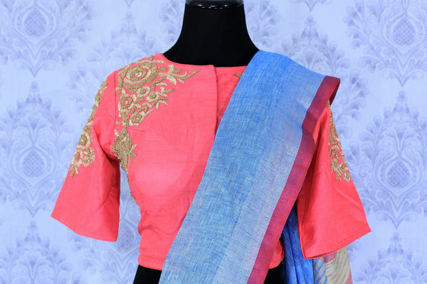 Buy light blue linen saree online in USA with embroidered saree blouse. The saree is an alluring choice for summer parties and special occasions. Buy more such Indian handloom sarees, sarees with blouses in USA at Pure Elegance exclusive fashion store or shop online at the comfort of your home.-blouse pallu
