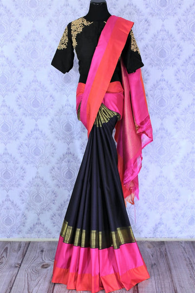 Buy black Kanjivaram silk saree online in USA with embroidered saree blouse. The saree is an alluring choice for weddings and special occasions. Buy more such Indian designer sarees, Kanchipuram sarees in USA at Pure Elegance exclusive fashion store or shop online at the comfort of your home.-full view