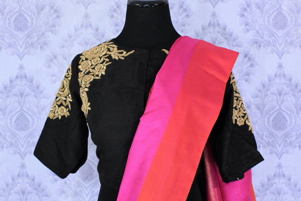 Buy black Kanjivaram silk saree online in USA with embroidered saree blouse. The saree is an alluring choice for weddings and special occasions. Buy more such Indian designer sarees, Kanchipuram sarees in USA at Pure Elegance exclusive fashion store or shop online at the comfort of your home.-blouse pallu