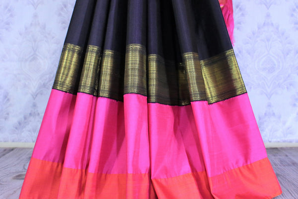 Buy black Kanjivaram silk saree online in USA with embroidered saree blouse. The saree is an alluring choice for weddings and special occasions. Buy more such Indian designer sarees, Kanchipuram sarees in USA at Pure Elegance exclusive fashion store or shop online at the comfort of your home.-pleats