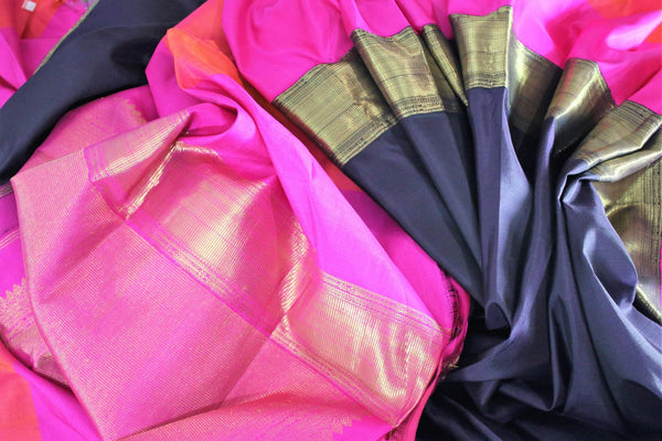 Buy black Kanjivaram silk saree online in USA with embroidered saree blouse. The saree is an alluring choice for weddings and special occasions. Buy more such Indian designer sarees, Kanchipuram sarees in USA at Pure Elegance exclusive fashion store or shop online at the comfort of your home.-details