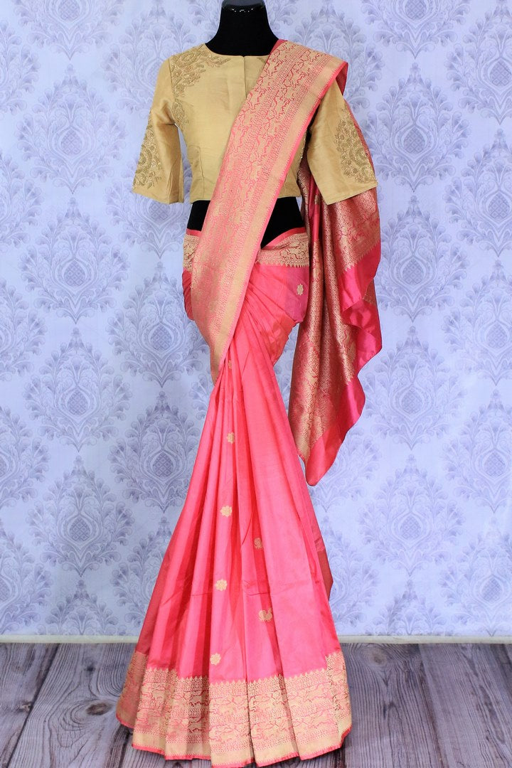 Buy pink Benarasi silk saree online in USA with embroidered sari blouse. The saree is an alluring choice for a traditional look at weddings and special occasions. Buy more such Indian designer sarees, silk sarees in USA at Pure Elegance exclusive fashion store or shop online at the comfort of your home.-full view