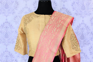 Buy pink Benarasi silk saree online in USA with embroidered sari blouse. The saree is an alluring choice for a traditional look at weddings and special occasions. Buy more such Indian designer sarees, silk sarees in USA at Pure Elegance exclusive fashion store or shop online at the comfort of your home.-blouse pallu