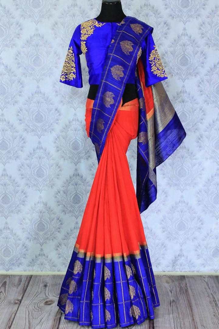 Buy red and blue tussar Benarasi saree online in USA with embroidered sari blouse. The saree is an alluring choice for a traditional look at weddings and special occasions. Buy more such Indian designer sarees, silk saris in USA at Pure Elegance exclusive fashion store or shop online at the comfort of your home.-full view