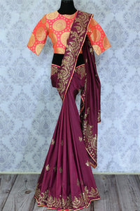 Buy purple silk saree online in USA with ticki work. The saree is an alluring choice for a traditional look at weddings and special occasions. Buy more such Indian designer sarees in USA at Pure Elegance exclusive fashion store or shop online at the comfort of your home.-full view