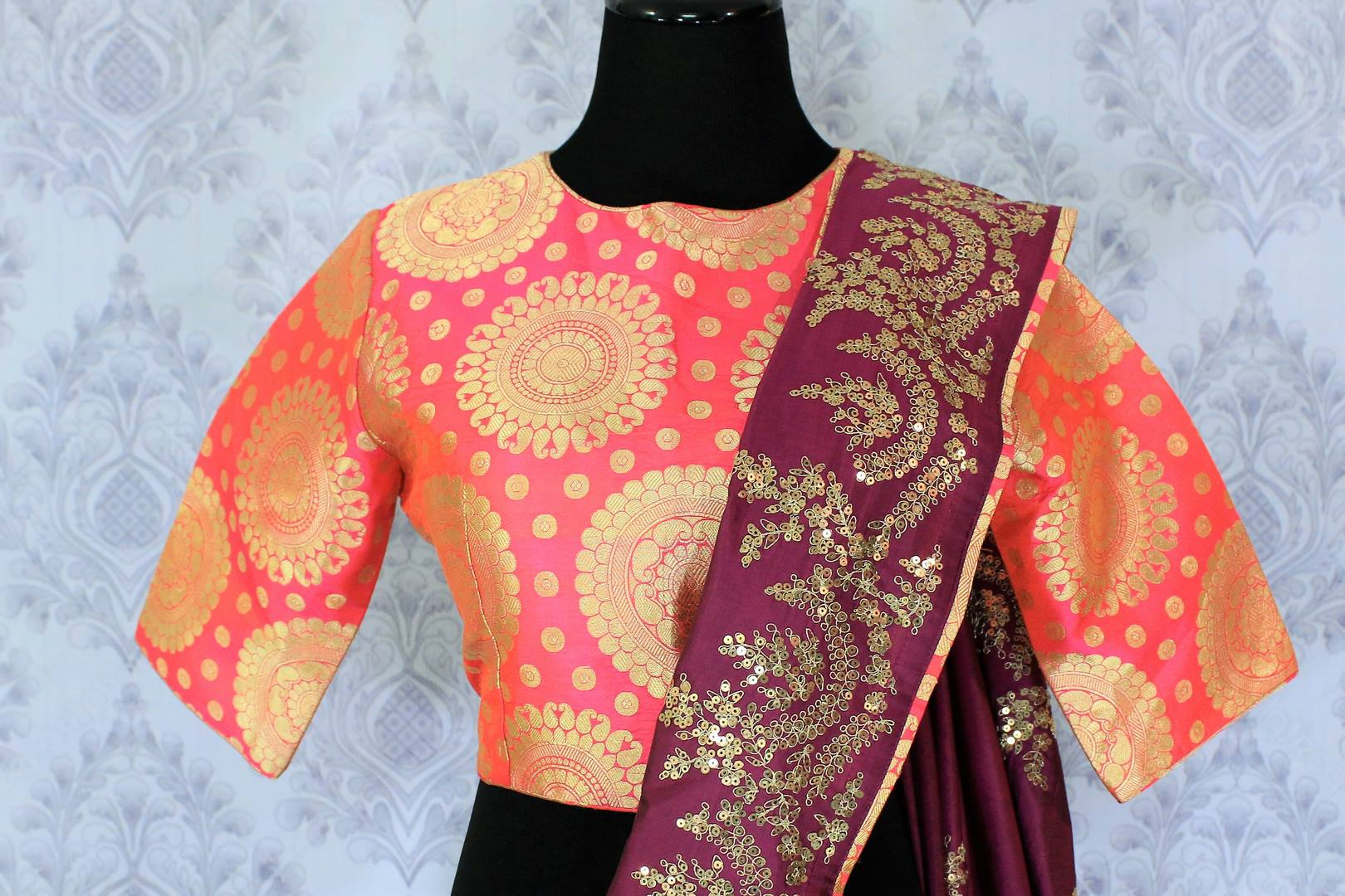 Buy purple silk saree online in USA with ticki work. The saree is an alluring choice for a traditional look at weddings and special occasions. Buy more such Indian designer sarees in USA at Pure Elegance exclusive fashion store or shop online at the comfort of your home.-blouse pallu