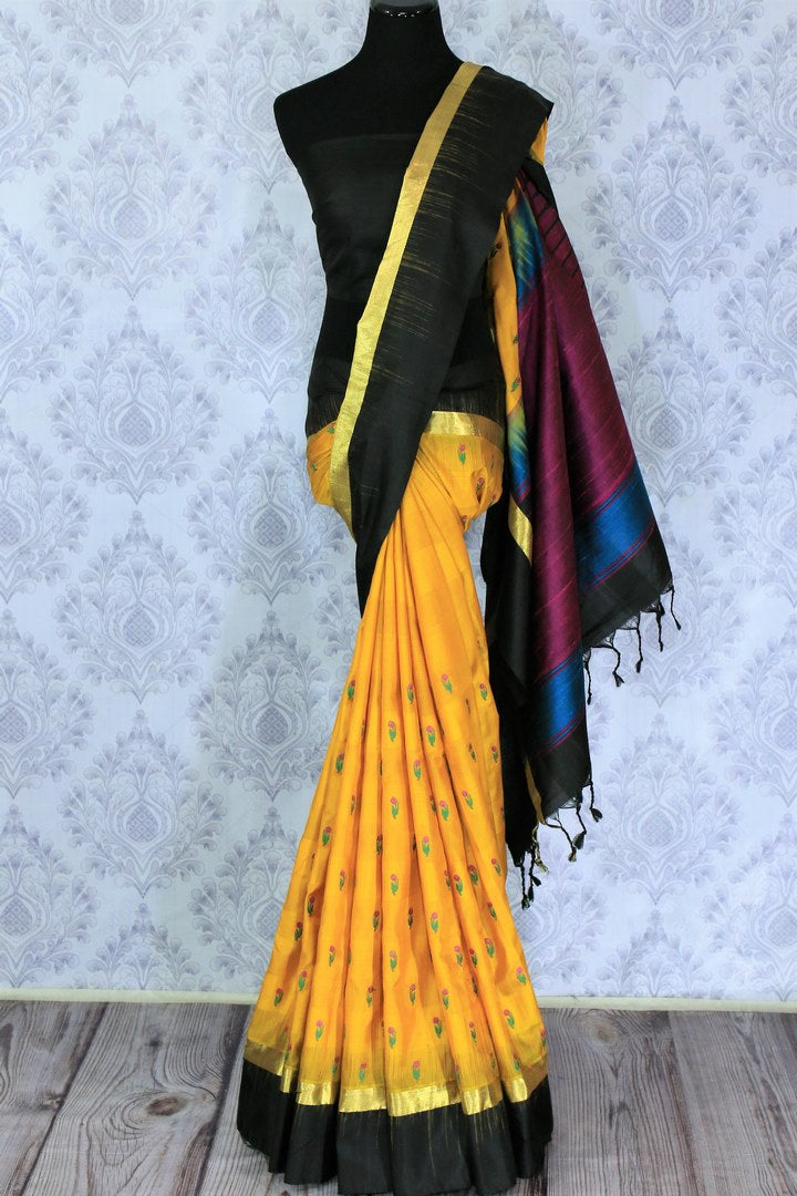 Buy bright yellow Bangalore silk saree online in USA with resham border. The saree is a perfect choice for an ethnic sari look at special occasions. Buy more such Indian woven sarees, silk sarees in USA at Pure Elegance exclusive fashion store or shop online at the comfort of your home.-full view