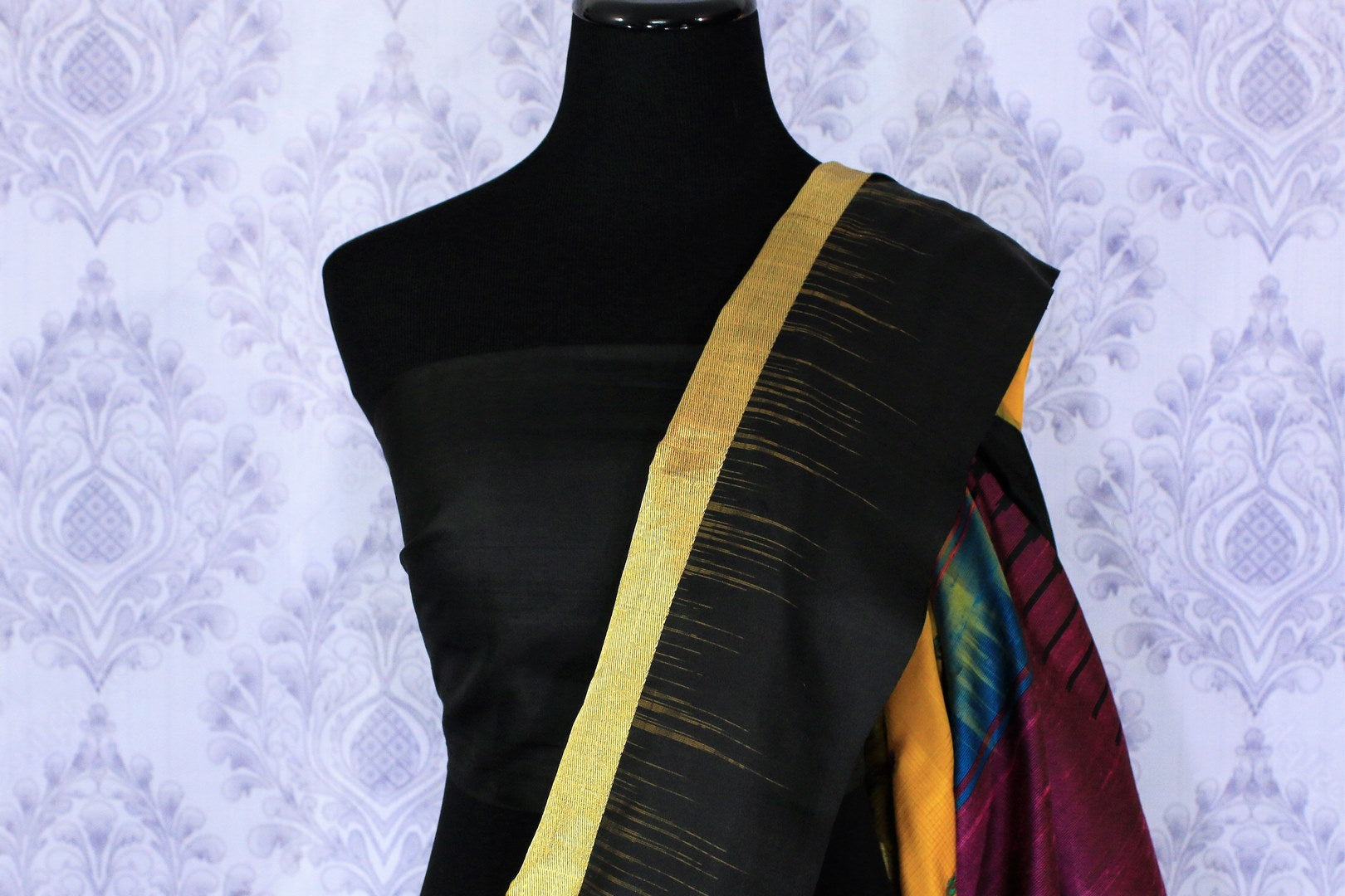 Buy bright yellow Bangalore silk saree online in USA with resham border. The saree is a perfect choice for an ethnic sari look at special occasions. Buy more such Indian woven sarees, silk sarees in USA at Pure Elegance exclusive fashion store or shop online at the comfort of your home.-blouse pallu