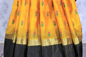 Buy bright yellow Bangalore silk saree online in USA with resham border. The saree is a perfect choice for an ethnic sari look at special occasions. Buy more such Indian woven sarees, silk sarees in USA at Pure Elegance exclusive fashion store or shop online at the comfort of your home.-pleats