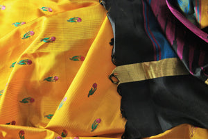 Buy bright yellow Bangalore silk saree online in USA with resham border. The saree is a perfect choice for an ethnic sari look at special occasions. Buy more such Indian woven sarees, silk sarees in USA at Pure Elegance exclusive fashion store or shop online at the comfort of your home.-details