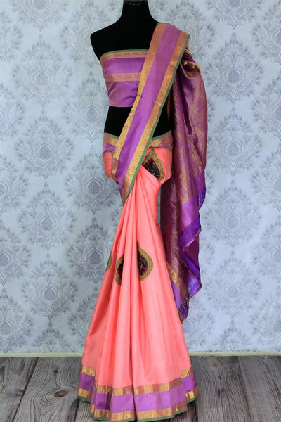 Buy beautiful pink Banarasi silk sari online in USA with applique work. The saree is a perfect choice for a beautiful Indian look at special occasions. Buy more such Indian woven sarees, silk sarees in USA at Pure Elegance exclusive fashion store or shop online at the comfort of your home.