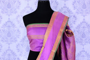 Buy beautiful pink Banarasi silk sari online in USA with applique work. The saree is a perfect choice for a beautiful Indian look at special occasions. Buy more such Indian woven sarees, silk sarees in USA at Pure Elegance exclusive fashion store or shop online at the comfort of your home.-blouse pallu