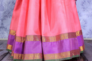 Buy beautiful pink Banarasi silk sari online in USA with applique work. The saree is a perfect choice for a beautiful Indian look at special occasions. Buy more such Indian woven sarees, silk sarees in USA at Pure Elegance exclusive fashion store or shop online at the comfort of your home.-pleats